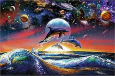 Sea life Dolphin Universe painting is shipped worldwide,including stretched canvas and framed art.This Sea life Dolphin Universe painting is available at custom size. Fantasy Animal, Fantasy Art, Fantasy Paintings, Mini Poster, Planet Crafts, Timeline Cover, Art Mur, Wall Art, Creation Photo