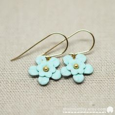 Mint Green Hand-painted Patina Daisy Flowers 14K by mintmintlily