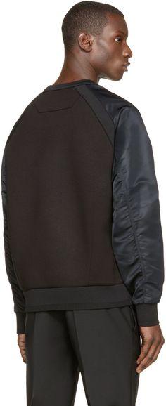 Juun.J Black Nylon Sleeve Sweatshirt