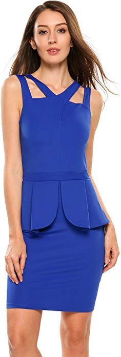 ANGVNS Women's Sleeveless Solid Bodycon Midi or Mini Peplum Dress with Square Neckline Peplum Dress, Bodycon Dress, Cocktail Wear, Business Fashion, Business Style, Thing 1, Dress Link, Blue V, One Piece Dress