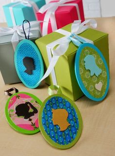 Make silhouette family gift tags. ~ Mod Podge Rocks!