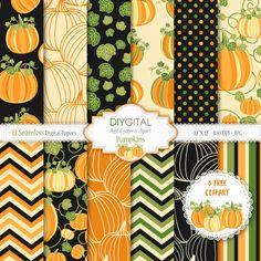 Pumpkins 12 Seamless digital papers 3 Free Pumpkin by DIYgital
