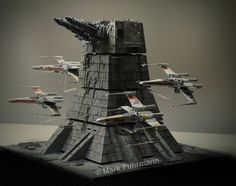 Death Star Turbo Laser turret, and X-wing fly-by. Star Wars Gifts, Star Wars Toys, Star Wars Art, Lego Star Wars, Maquette Star Wars, Starwars, Nave Star Wars, X Wing Miniatures, Star Wars Vehicles