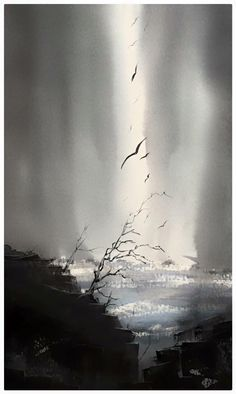 Andreas W Gortan Watercolor Landscape Paintings, Seascape Paintings, Abstract Watercolor, Abstract Nature, Abstract Landscape, Watercolor Architecture, Creative Art, Painting Techniques, Watercolours