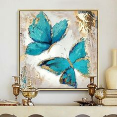 Gold blue butterfly acrylic painting on canvas abstract wall art c . Gold blue butterfly acrylic painting on canvas abstract wall art pictures for living room texture quadro caudro home decoration Butterfly Acrylic Painting, Butterfly Canvas, Oil Painting Abstract, Acrylic Art, Acrylic Painting Canvas, Painting Frames, Painting Art, Blue Butterfly, Painting Flowers