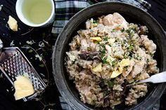 Angela Casley's shares her chicken, mushroom and lemon risitto recipe for the perfect wholesome lunch or dinner. Healthy Eating Recipes, Healthy Cooking, Cooking Recipes, Healthy Smoothies, Rice Recipes, Healthy Tips, Recipies, Mushroom Risotto, Mushroom Chicken