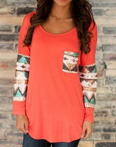 Sweet Scoop Neck Color Block Spliced Pocket T-Shirt For Women