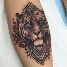 Gorgeous Tiger Tattoo For Girl Photos