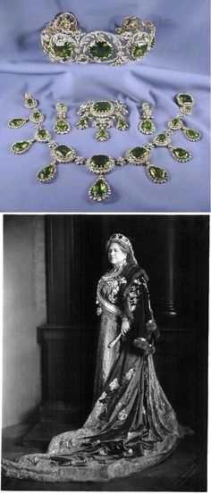 The peridot parure comprising a tiara, a necklace, earrings, a brooch by Köchert in about 1825. It's said that the first owner of the tiara was Archduchess Henriette of Austria. From Henriette, the peridot set eventually passed to their grandson, Archduke Friedrich, and his wife, Princess Isabella of Croÿ. She was photographed in the suite at one of the last great Habsburg celebrations: the coronation of Emperor Charles I of Austria-Hungary, which took place in 1916 (seen in the portrait).