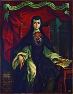 "Jorge Sánchez Hernández, ""Sátira filosófica"", serie de retratos de sor Juana Inés de la Cruz, óleo sobre tela, sin medidas, colección particular (Familia Trauwitz, México), siglo XX catalogación: Juan Carlos Cancino."