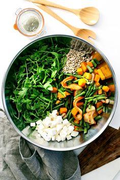 Winter Chopped Salad with Pear, Feta & Arugula recipe. Protein: sunflower seeds, feta cheese.  May add: black-eyed peas, lentils.