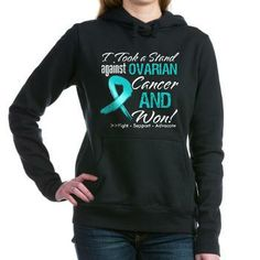 I Took a Stand Against Ovarian Cancer and Won shirts, apparel and gifts featuring a distressed teal ribbon for advocacy and celebration of your survivorship by hopeawarenessribbons.com  #ovariancancersurvivor #ovariancancerawareness #ovariancancershirts