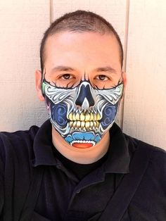 Half Skull Face Makeup, Face Paint Makeup, Sugar Skull Makeup, Kiss Makeup, Sugar Skulls, Zombie Face Paint, Skeleton Face Paint, Monster Face Painting, Adult Face Painting