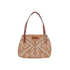 Women's Nicole Lee Jolene Geometric Studwork Shopper Bag - Brown... ($88) ❤ liked on Polyvore