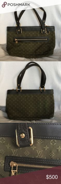 4316689fe910 💯LOUIS VUITTON Mini Lin Lucille PM THIS IS A PRE-OWNED   AUTHENTIC BAG.    Overall Condition  gently used. Material Kaki Lin canvas with leather trim  ...
