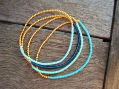 Simple Stretchy Seed Bead Bracelet  - Gold and Blue Bracelet