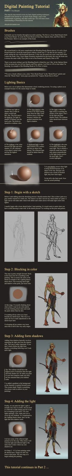 Digital Painting Tutorial - Part 1 by Zhrayde on DeviantArt Digital Painting Tutorials, Digital Art Tutorial, Art Tutorials, Digital Paintings, Drawing Tutorials, Painting Process, Painting Tips, Digital Drawing, Coloring Tutorial
