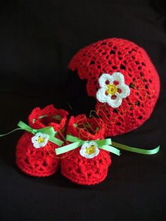 Strawberry Baby Bonnet and Booties Crochet by TanjaEnzinger, $6.99