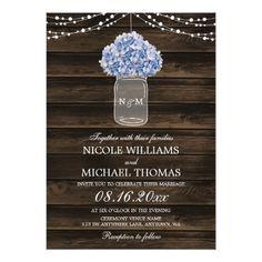 Rustic Hydrangea Mason Jar Barn Wood Wedding Card