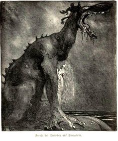 "An illustration for Our Fathers Godsaga(Viktor Rydberg), ""Svipdag Transformed with Freja"", 1911 by John Bauer"