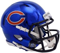 The Riddell Chrome Alternative Speed mini helmet features a plastic facemask, realistic interior foam padding and vinyl-leather chin strap. Officially licensed by the National Football League. Size: scale versions of NFL football helmets. Nfl Football Helmets, Pro Football Teams, Bears Football, Football Stuff, Nfl Superbowl, Saints Football, College Football, New Helmet, Helmet Logo