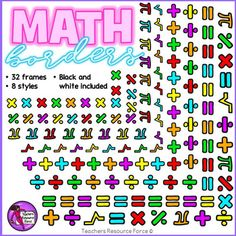 Math Borders: math symbols - color and black lineGet your hands on this unique set of Math themed borders! There are 32 images in total in 8 different styles.Product includes: Addition Multiplication Division Pi Square root Equals Percentage Mix of math symbolsThese are quality 300dpi png files and they come in both transparent and white filled to make them more versatile for you!These are particularly fantastic for your Math themed resources, so get your hands on these fun, unique borders…