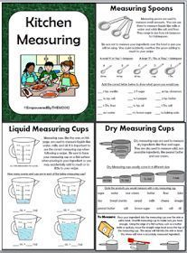 Here is a small packet on kitchen measuring. I have included measuring with liquid measuring cups, dry measuring cups and measuring spoon...