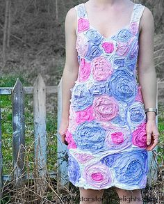 10 Fabulous DIY Ways to Recycle Old Tees - t shirt flower dress tutorial