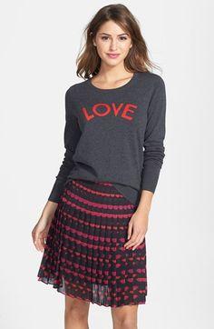 Halogen® 'Love' Shoulder Zip Intarsia Sweater (Regular & Petite) | Nordstrom