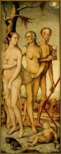 Otto Dix (German 1891–1969) [German Expressionism, Neue Sachlichkeit] Hans Baldung Grien, The Three Ages and Death, c.1540, oil on panel, 151 x 59 cm, Museo del Prado.