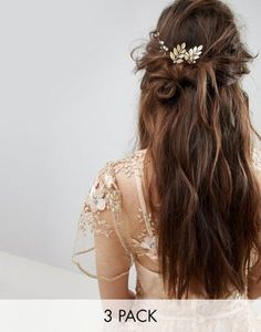 Buy ASOS DESIGN Bridal Pack Of 3 Delicate Leaf And Bead Hair Grips at ASOS. With free delivery and return options (Ts&Cs apply), online shopping has never been so easy. Get the latest trends with ASOS now. Asos, Hair Grips, Barrettes, Hair Beads, Hair Images, Metallic Blue, Headgear, Vintage Earrings, Bridal Hair
