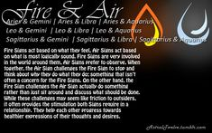 Fire & Air Fire Signs act based on what they feel, Air Signs act based on what is most logically sound. Fire Signs are very involved in the world around them, Air Signs prefer to observe. When together, the Air Sign challenges the Fire Sign to stop. Aries And Aquarius Compatibility, Gemini And Sagittarius, Aquarius Love, Aries Horoscope, Gemini Traits, Aries Woman, Libra Zodiac, Aquarius Relationship, Libra Quotes