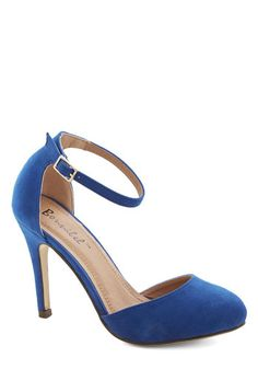 Dinner and Dancing Heel in Blue - High, Suede, Faux Leather, Blue, Solid, Prom, Wedding, Party, Girls Night Out, Holiday Party, Good, Variat...