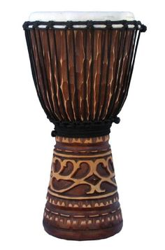 "Tan Deep-Carved African-Style Djembe Drum- 19""-20"" Tall x 10"" Head $66.89"