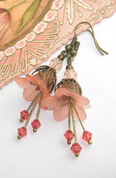 Peach Flower Earrings Shabby Chic Jewelry Peach