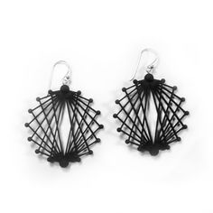 Single & Fab Earrings ••• 3D Printed Jewellery Inspired by Science ••• Black Nylon