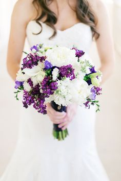 Stunning purple and white bouquet // photo by Aubrey Marie Photography, http://theeverylastdetail.com/2013/09/20/a-classic-southern-purple-and-gray-texas-wedding/