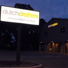 Can you tell that we  our new sign?  #dutchcrafters is officially and happily open on Lockwood Ridge Road in #sarasota #florida and we'd love for you to come see our #amishfurniture!  Preferably not at night tho  Open 9-6pm M-Sat Sun 12-5
