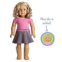 Lucinda's doll - American Girl® Dolls: Light skin with freckles, short curly blond hair, blue eyes