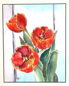 Three Orange Tulips In Water Color Original art Frame by RTStyles, $32.50