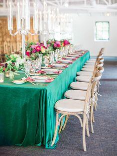 La Tavola Fine Linen Rental: Velvet Emerald with Dupionique Iridescence Lipstick Napkins | Photography: Melissa Jill Photography, Concept & Planning: Ashley Gain Weddings, Venue: El Chorro, Floral Design: The Flower Studio