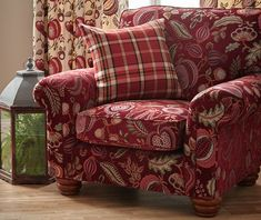Based around archive designs reminiscent of motifs from the Arts and Crafts Movement. Wingback Chair, Armchair, Blinds Direct, Red Interiors, Arts And Crafts Movement, Drapery Fabric, Interior Inspiration, Accent Chairs, Upholstery
