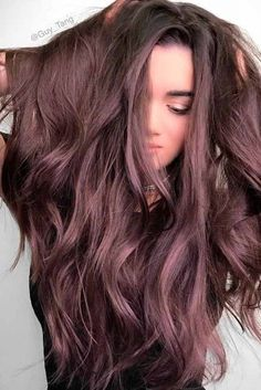 Trendy Hair Color : Chocolate lilac hair: how miraculous it looks dont you think? This new hair Brown Ombre Hair, Ombre Hair Color, Brown Hair Colors, Brown Blonde, Dark Brown Purple Hair, Dark Hair With Color, Purple Tinted Hair, Subtle Purple Hair, Hair Color 2018