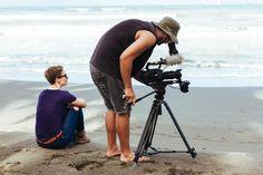 Anna & Jasyn filming APM Terminal establishing shot
