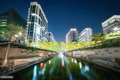 Arroyo de Cheonggyecheon Seúl Corea del sur en la noche