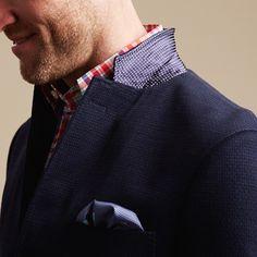 Dark Blue / Navy Blazer . Red / White / Blue Gingham Check Shirt . Blue / White Print Pocket Square
