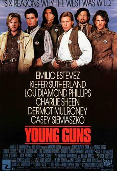 Young Guns, featuring Emilio Estevez and Charlie Sheen, is a retelling of Billy the Kid's adventures in Loved to watch this series! Young Guns, Western Film, Western Movies, 80s Movies, Great Movies, Awesome Movies, Excellent Movies, Action Movies, Love Movie