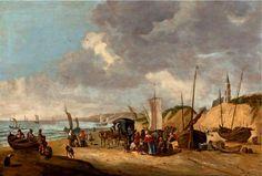 Cornelis Beelt (1630 - 1702). De visafslag op het strand van Scheveningen met een koets uit Den Haag, die waarschijnlijk vis komt kopen. Op de achtergrond de Oude Kerk, waarvan de toren wit is geschilderd.
