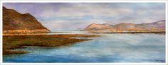 Marina en acuarela de las marismas de Santoña. En el cuadro se aprecia una panorámica de toda esta zona y al fondo las montañas que lo rodean.