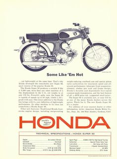 Honda Scooters, Honda Motors, Honda Bikes, Honda Auto, Vintage Advertisements, Vintage Ads, Vintage Prints, Vintage Photos, Vintage Bikes
